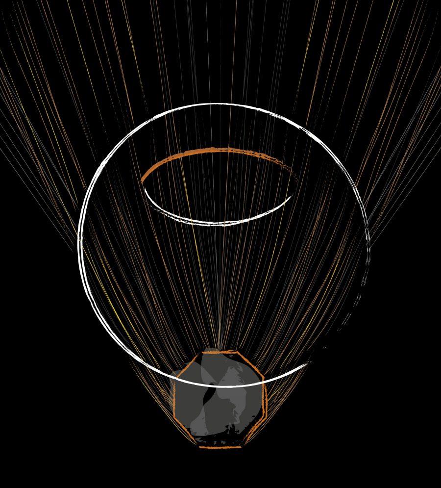 boceto_diseno_exposicion_efimera_espacio_evento_strand_light_espejo_octogonal_conexion_hilos_iluminacion_anillos