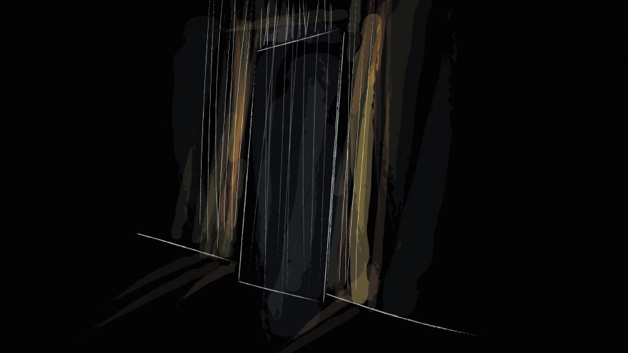boceto_diseno_exposicion_efimera_espacio_evento_strand_light_espejo_retroiluminado_cortina_hilos_negros